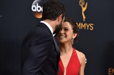 Tom Cullen and Tatiana Maslany on the red carpet at the 2016 Primetime Emmys.