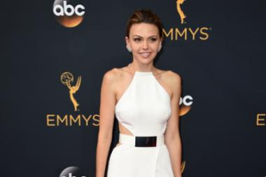 Aimee Teegarden on the red carpet at the 2016 Primetime Emmys.
