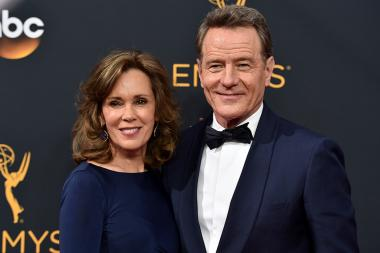 Robin Dearden and Bryan Cranston on the red carpet at the 2016 Primetime Emmys.
