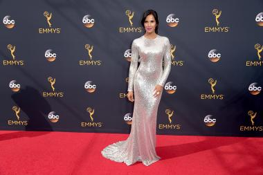 Padma Lakshmi on the red carpet at the 2016 Primetime Emmys.