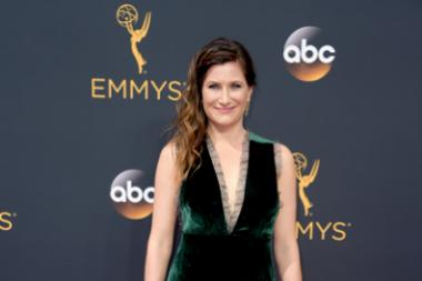 Kathryn Hahn on the red carpet at the 2016 Primetime Emmys.