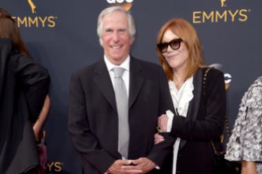 Henry Winkler and Stacey Weitzman on the red carpet at the 2016 Primetime Emmys.