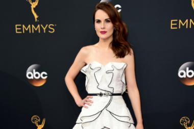 Michelle Dockery on the red carpet at the 2016 Primetime Emmys.