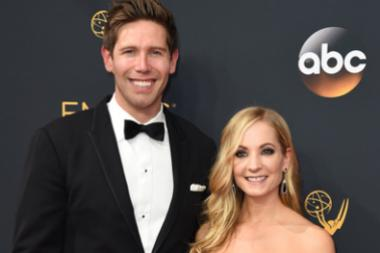 James Cannon and Joanne Froggatt on the red carpet at the 2016 Primetime Emmys.