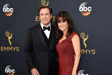 John Travolta and Kelly Preston on the red carpet at the 2016 Primetime Emmys.