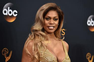 Laverne Cox on the red carpet at the 2016 Primetime Emmys.