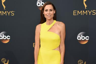 Minnie Driver on the red carpet at the 2016 Primetime Emmys.