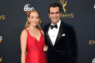 Holly Burrell and Ty Burrell on the red carpet at the 2016 Primetime Emmys.