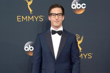 Andy Samberg on the red carpet at the 2016 Primetime Emmys.