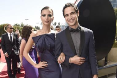Emily Ratajkowski and Zac Posen on the red carpet at the 2016 Primetime Emmys.