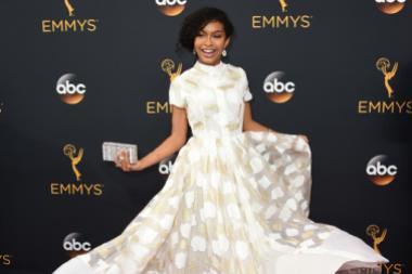 Yara Shahidi on the red carpet at the 2016 Primetime Emmys.