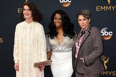 Gaby Hoffmann, Alexandra Grey, and Jill Soloway on the red carpet at the 2016 Primetime Emmys.