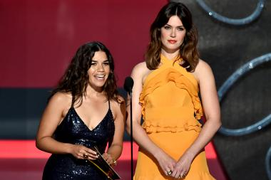 America Ferrara and Mandy Moore on stage at the 2016 Primetime Emmys.