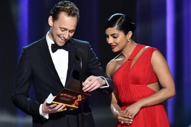 Tom Hiddleston and Priyanka Chopra present an award at the 68th Primetime Emmy Awards.