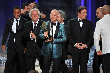 Ryan Murphy and the cast and crew of The People v. O.J. Simpson: American Crime Story accept an award at the 2016 Primetime Emmys.