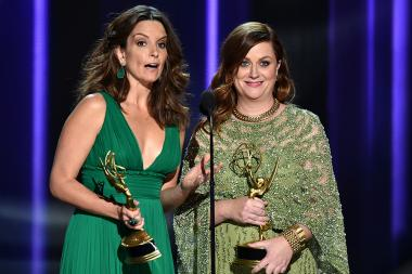 Tina Fey and Amy Poehler on stage at the 2016 Primetime Emmys.