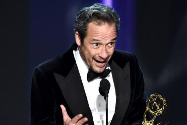 D.V. DeVincentis accepts his award at the 2016 Primetime Emmys.