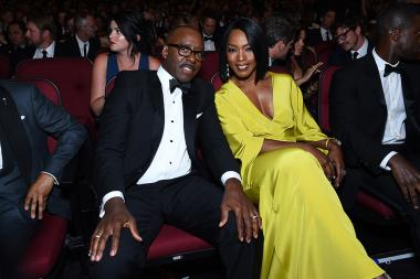 Courtney B. Vance and Angela Bassett in the audience at the 2016 Primetime Emmys.