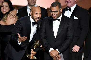 Keegan-Michael Key and Jordan Peele accept an award at the 2016 Primetime Emmys.