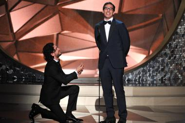 Kit Harington and Andy Samberg on stage at the 2016 Primetime Emmys.