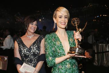 Marcia Clark and Sarah Paulson at the 68th Emmys Governors Ball.