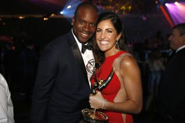 Ashley Baumann-Sylvester and guest at the 68th Emmys Governors Ball.