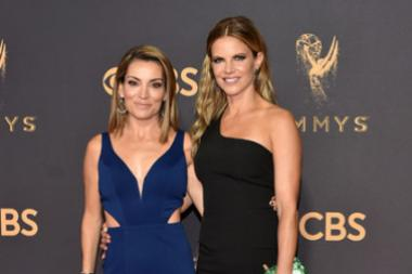 Kit Hoover and Natalie Morales on the red carpet at the 2017 Primetime Emmys.