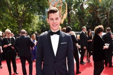 Nolan Gould on the red carpet at the 69th Primetime Emmy Awards