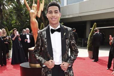Marcus Scribner on the red carpet at the 2017 Primetime Emmys.
