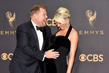 James Corden and Julia Carey on the red carpet at the 2017 Primetime Emmys.