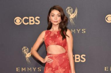 Sarah Hyland on the red carpet at the 2017 Primetime Emmys.