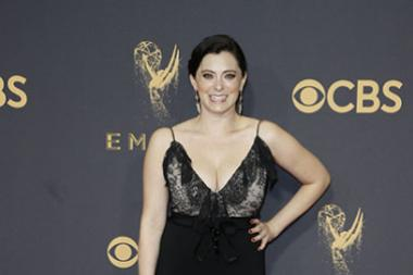 Rachel Bloom on the red carpet at the 2017 Primetime Emmys.