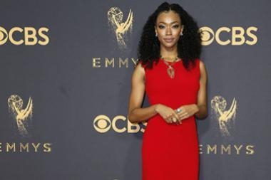 Sonequa Martin-Green on the red carpet at the 2017 Primetime Emmys.