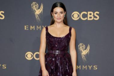 Lea Michele on the red carpet at the 2017 Primetime Emmys.