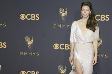 Jessica Biel on the red carpet at the 2017 Primetime Emmys.