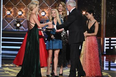 Shailene Woodley, Nicole Kidman, Reese Witherspoon, Laura Dern, and Zoe Kravitz present an award at the 69th Primetime Emmy Awards