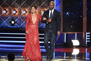 Gina Rodriguez and Shemar Moore on stage at the 2017 Primetime Emmys.