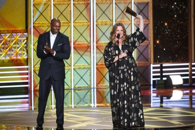 Dave Chappelle and Melissa McCarthy on stage at the 2017 Primetime Emmys.