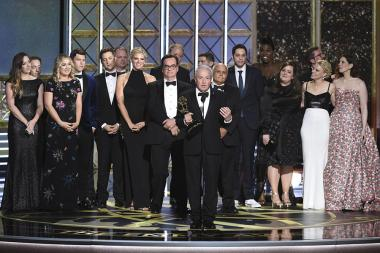 Lorne Michaels accepts his award at the 69th Primetime Emmy Awards