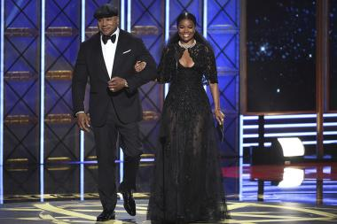 LL Cool J and Gabrielle Union on stage at the 69th Primetime Emmy Awards