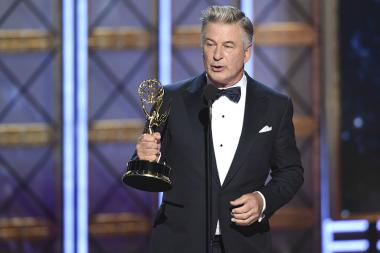 Alec Baldwin accepts his award at the 2017 Primetime Emmys.