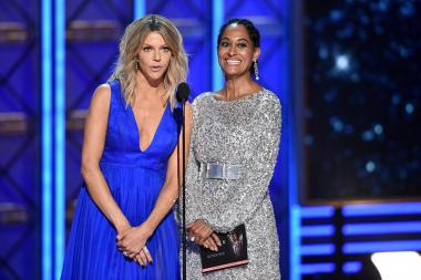 Kaitlin Olson and Tracee Ellis Ross on stage at the 2017 Primetime Emmys.