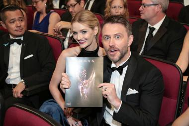 Lydia Hearst and Chris Hardwick at the 2017 Primetime Emmys.