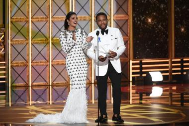 Priyanka Chopra and Anthony Anderson at the 69th Primetime Emmy Awards