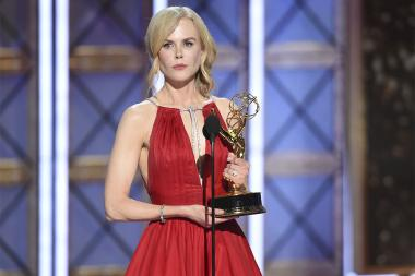 Nicole Kidman accepts her award at the 69th Primetime Emmy Awards