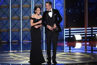 Tatiana Maslany and Jeffrey Dean Morgan present an award at the 69th Primetime Emmy Awards