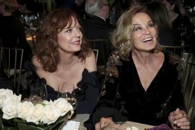 Susan Sarandon and Jessica Lange at the 69th Emmys Governors Ball.