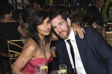 Padma Lakshmi and Adam Dell at the 69th Emmy Awards Governors Ball.