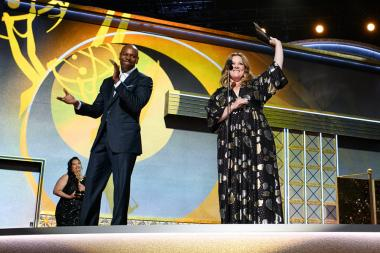 Dave Chappelle and Melissa McCarthy on stage at the 69th Emmy Awards.