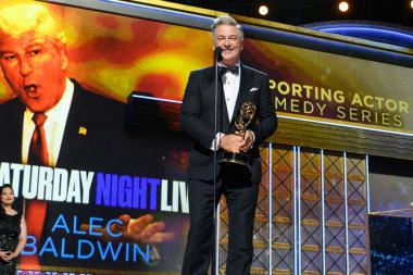 Alec Baldwin accepts his award at the 69th Primetime Emmys